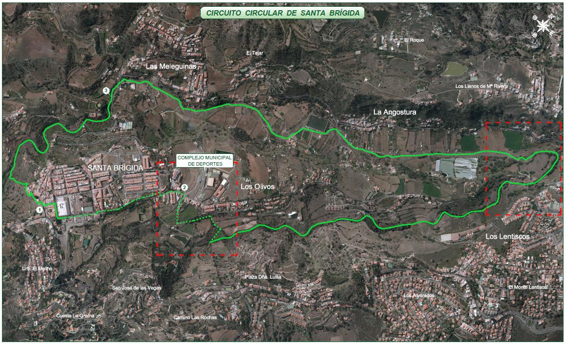 Trazado del Circuito que recorre desde el casco hasta el puente de La Angostura
