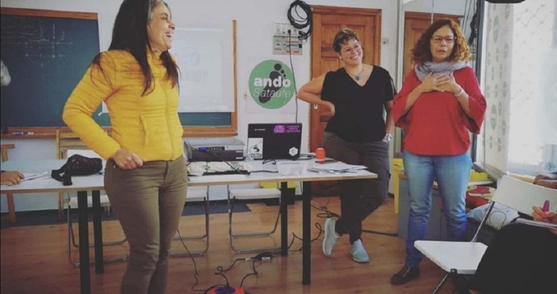 Rosalía, Puri y Naomi durante la charla.