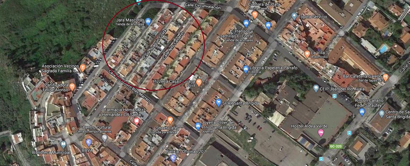 Vista aérea de las casas del Patronato (marcadas en círculo rojo)