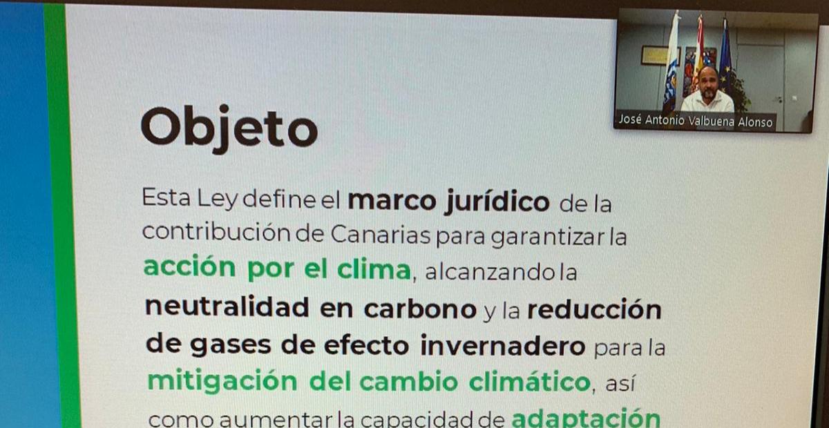 Un aspecto de la charla telemática con el consejero del Gobierno de Canarias